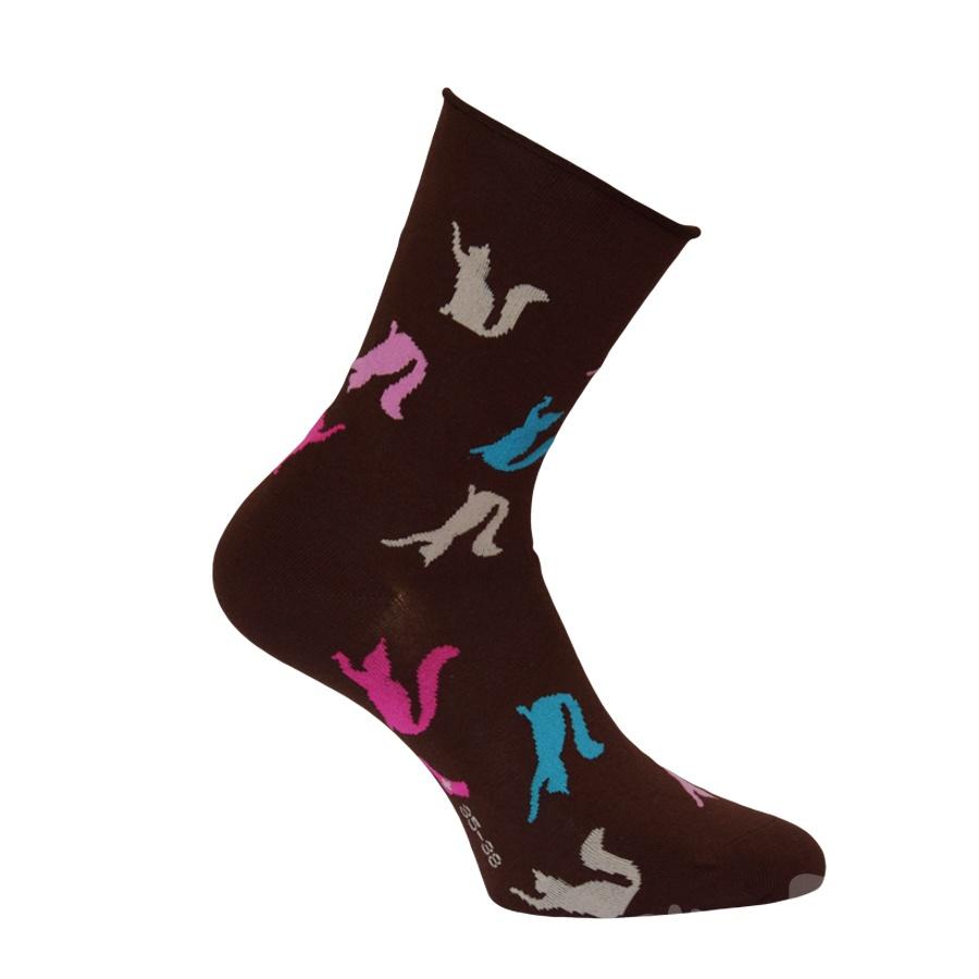 34100 DÁMSKÉ ZDRAVOTNÍ PONOŽKY VZOR OXSOX HNĚDÁ - Dámské - Ponožky - Bez  gumiček 0d018422cb